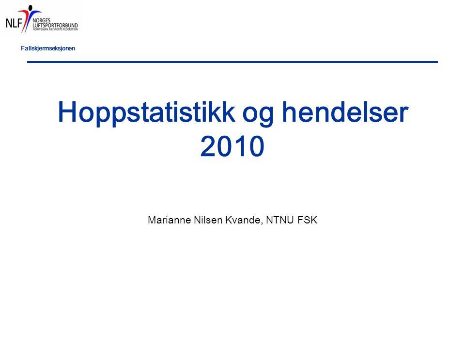 Fallskjermseksjonen Hoppstatistikk og hendelser 2010 Marianne Nilsen Kvande, NTNU FSK