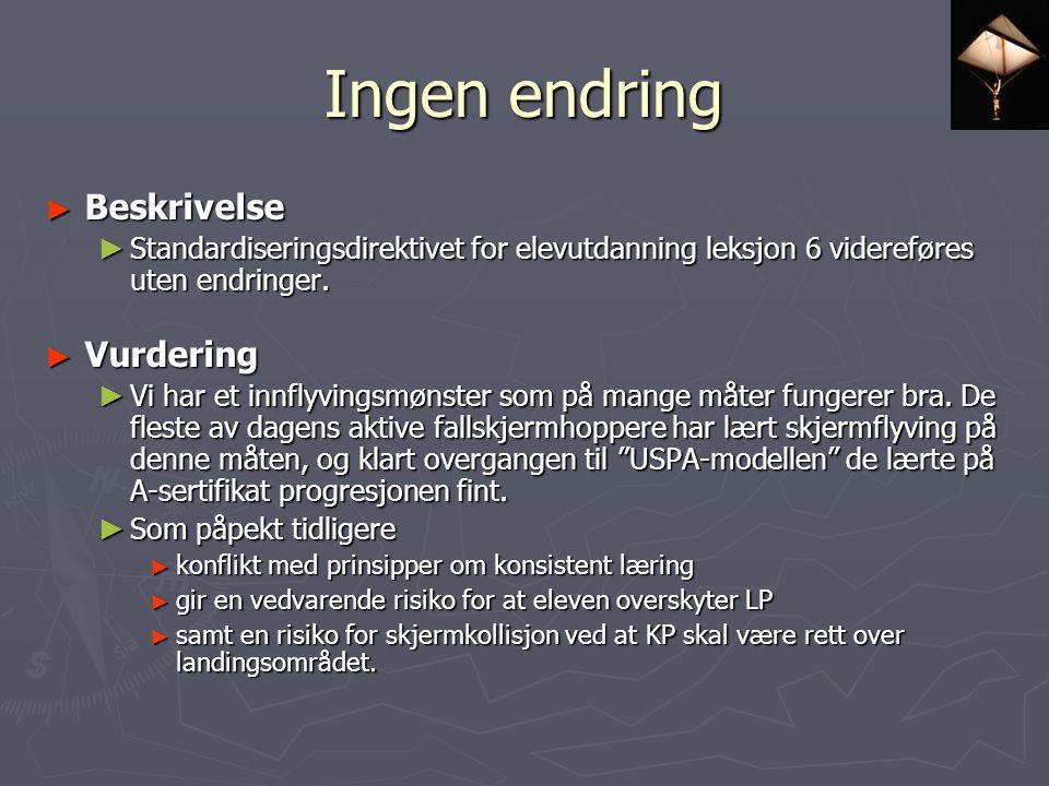 Ingen endring ► Beskrivelse ► Standardiseringsdirektivet for elevutdanning leksjon 6 videreføres uten endringer.