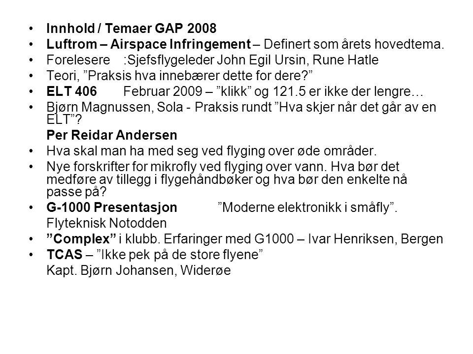 Innhold / Temaer GAP 2008 Luftrom – Airspace Infringement – Definert som årets hovedtema.