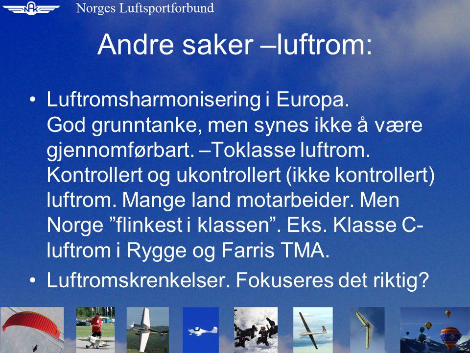 Andre saker –luftrom: Luftromsharmonisering i Europa.