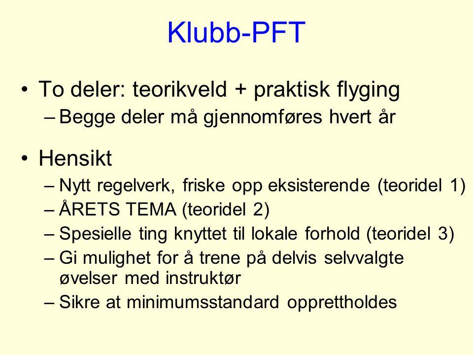 Klubb-PFT To deler: teorikveld + praktisk flyging –Begge deler må gjennomføres hvert år Hensikt –Nytt regelverk, friske opp eksisterende (teoridel 1)