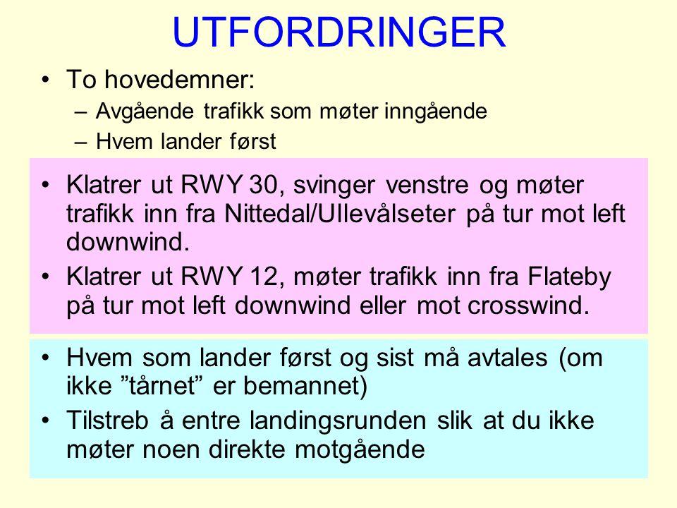 UTFORDRINGER To hovedemner: –Avgående trafikk som møter inngående –Hvem lander først Klatrer ut RWY 30, svinger venstre og møter trafikk inn fra Nitte