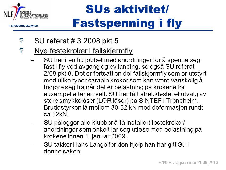 Fallskjermseksjonen F/NLFs fagseminar 2009, # 13 SUs aktivitet/ Fastspenning i fly SU referat # 3 2008 pkt 5 Nye festekroker i fallskjermfly –SU har i en tid jobbet med anordninger for å spenne seg fast i fly ved avgang og ev landing, se også SU referat 2/08 pkt 8.
