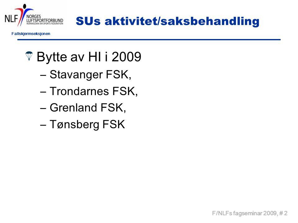 Fallskjermseksjonen F/NLFs fagseminar 2009, # 2 SUs aktivitet/saksbehandling Bytte av HI i 2009 –Stavanger FSK, –Trondarnes FSK, –Grenland FSK, –Tønsberg FSK