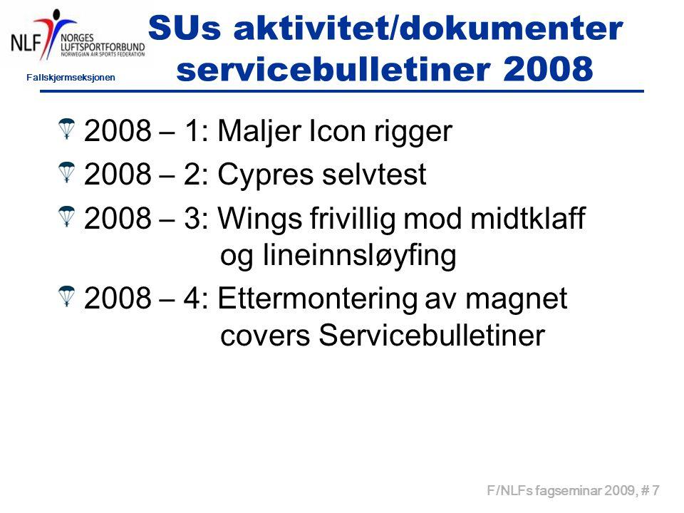 Fallskjermseksjonen F/NLFs fagseminar 2009, # 8 Aktivitet 2009 B-kurs 30/4 – 3/05 - 09(9 1/2)KS Tandemkurs 21 - 24/05 - 09 ØÆ AFF-I kurs 27/6 -05/07 - 09 ØÆ C-kurs: Del I 05 – 06/09 - 09 OLT Del II 06 – 08/11- 09 OLT MK-kurs 16 – 18/10 - 09 (9) SOLA