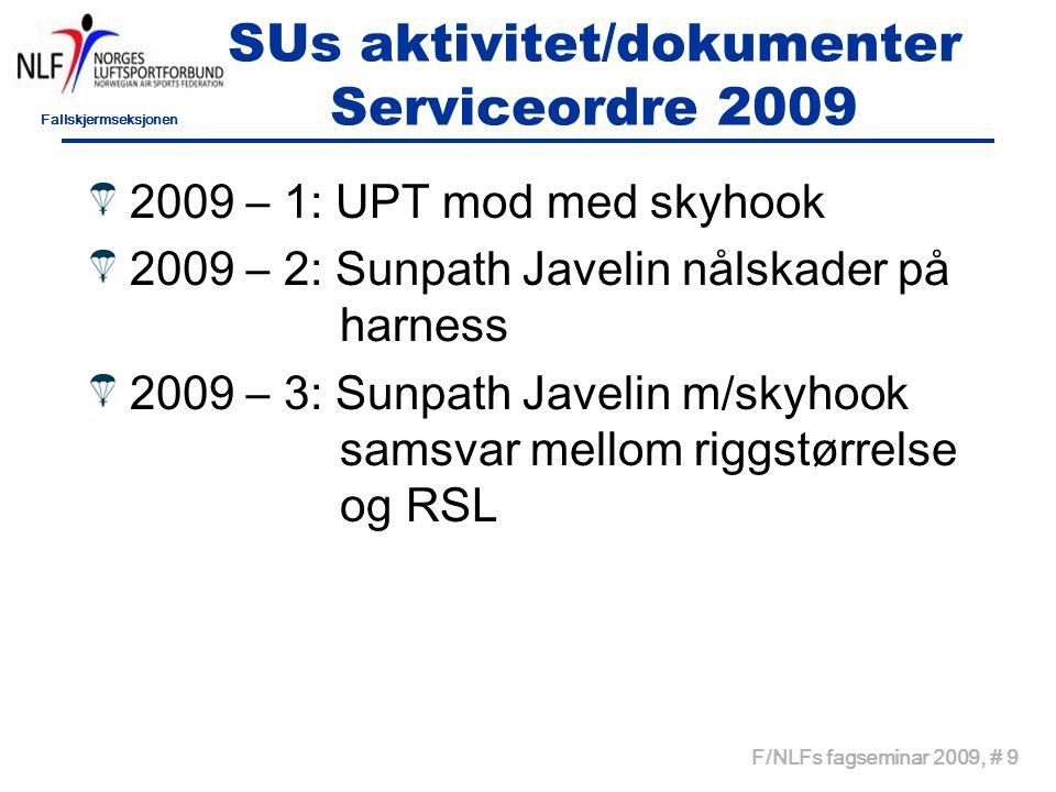 Fallskjermseksjonen F/NLFs fagseminar 2009, # 9 SUs aktivitet/dokumenter Serviceordre 2009 2009 – 1: UPT mod med skyhook 2009 – 2: Sunpath Javelin nålskader på harness 2009 – 3: Sunpath Javelin m/skyhook samsvar mellom riggstørrelse og RSL