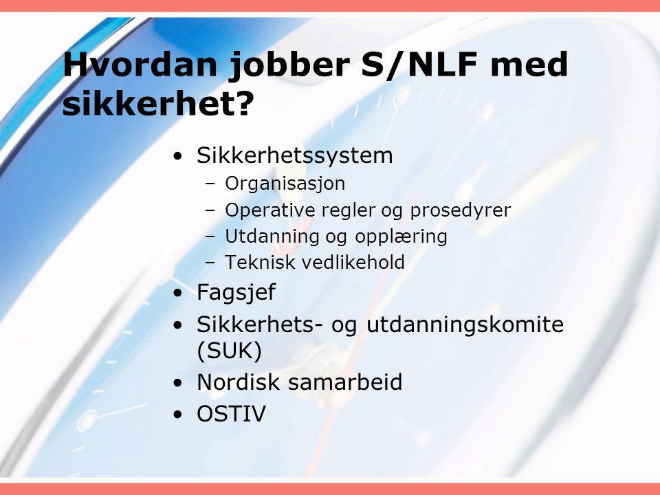 Hvordan jobber S/NLF med sikkerhet? Sikkerhetssystem –Organisasjon –Operative regler og prosedyrer –Utdanning og opplæring –Teknisk vedlikehold Fagsje