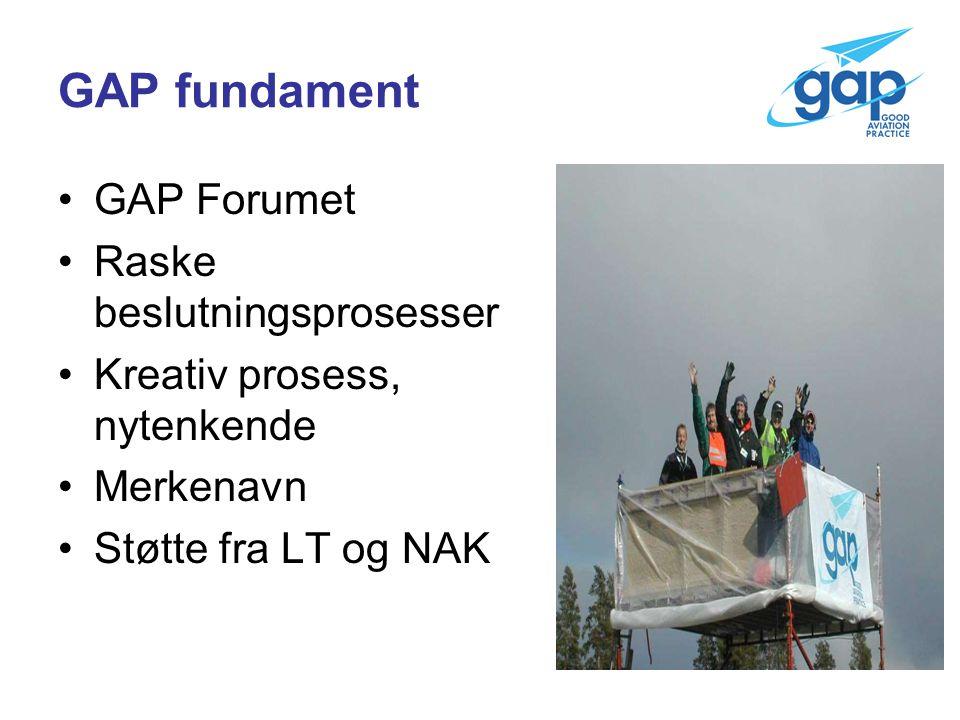 GAP fundament GAP Forumet Raske beslutningsprosesser Kreativ prosess, nytenkende Merkenavn Støtte fra LT og NAK