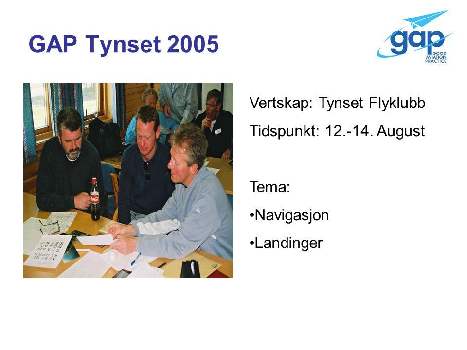 GAP Tynset 2005 Vertskap: Tynset Flyklubb Tidspunkt: 12.-14. August Tema: Navigasjon Landinger