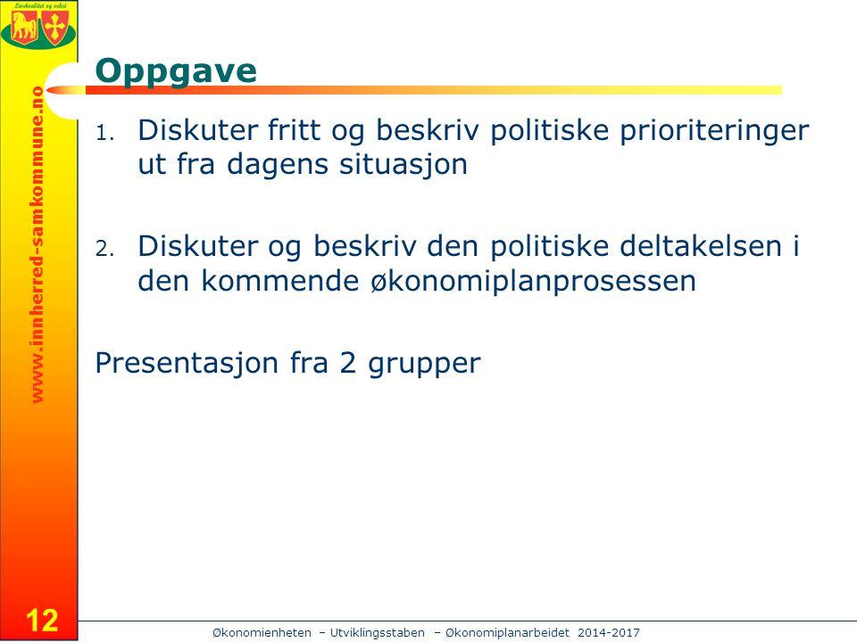 www.innherred-samkommune.no Økonomienheten – Utviklingsstaben – Økonomiplanarbeidet 2014-2017 Oppgave 1.