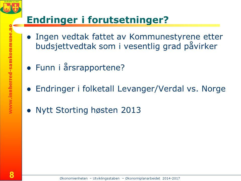 www.innherred-samkommune.no Økonomienheten – Utviklingsstaben – Økonomiplanarbeidet 2014-2017 Endringer i forutsetninger.