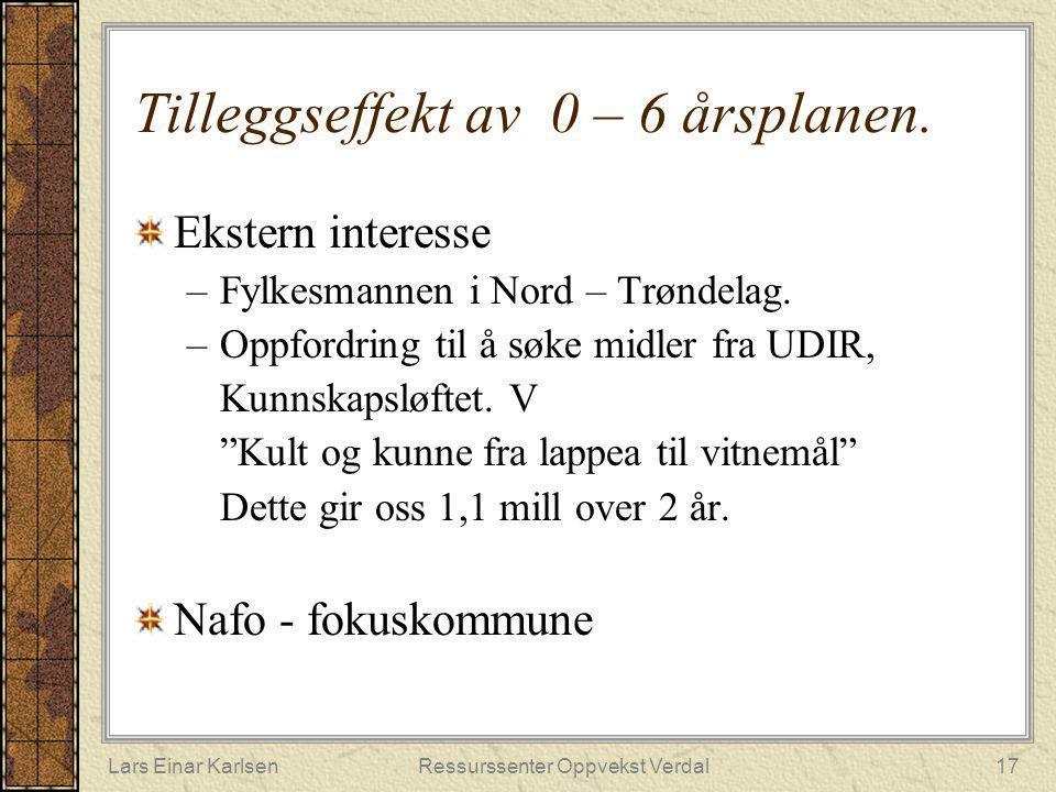 Lars Einar KarlsenRessurssenter Oppvekst Verdal17 Tilleggseffekt av 0 – 6 årsplanen. Ekstern interesse –Fylkesmannen i Nord – Trøndelag. –Oppfordring