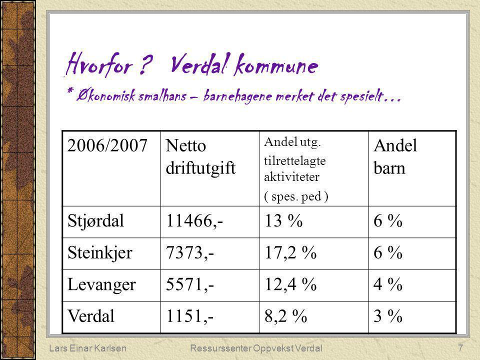 Lars Einar KarlsenRessurssenter Oppvekst Verdal7 Hvorfor ? Verdal kommune * Økonomisk smalhans – barnehagene merket det spesielt… 2006/2007Netto drift