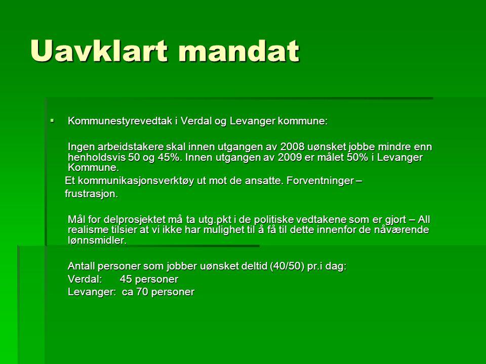 Uavklart mandat  Kommunestyrevedtak i Verdal og Levanger kommune: Ingen arbeidstakere skal innen utgangen av 2008 uønsket jobbe mindre enn henholdsvis 50 og 45%.