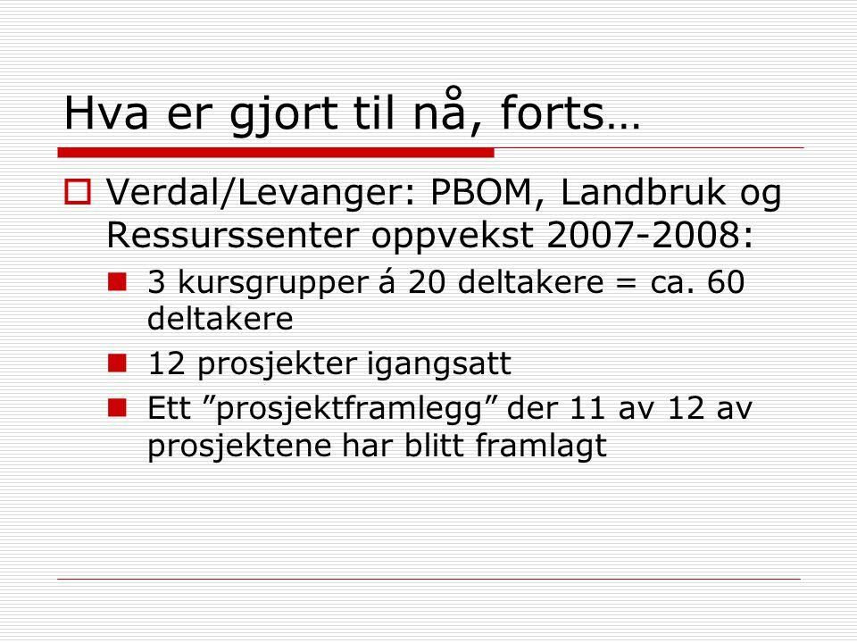 Hva er gjort til nå, forts…  Verdal/Levanger: PBOM, Landbruk og Ressurssenter oppvekst 2007-2008: 3 kursgrupper á 20 deltakere = ca. 60 deltakere 12