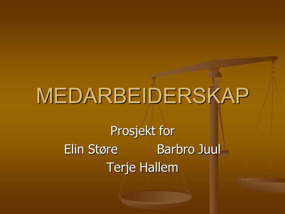 MEDARBEIDERSKAP Prosjekt for Elin Støre Barbro Juul Terje Hallem