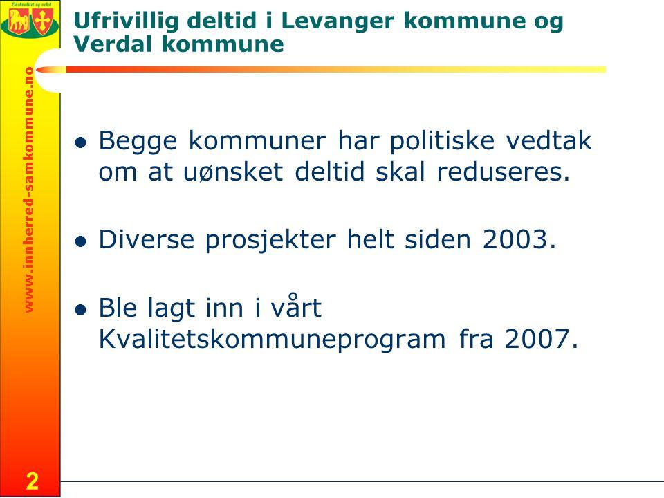 www.innherred-samkommune.no 2 Ufrivillig deltid i Levanger kommune og Verdal kommune Begge kommuner har politiske vedtak om at uønsket deltid skal reduseres.