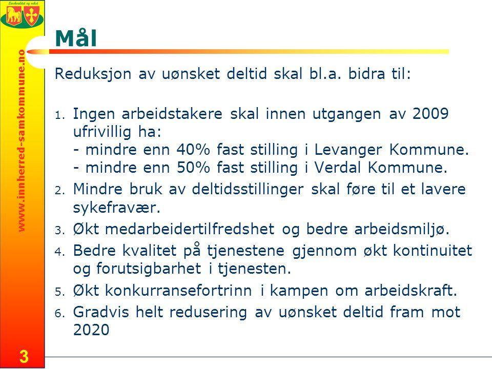 www.innherred-samkommune.no 3 Mål Reduksjon av uønsket deltid skal bl.a.