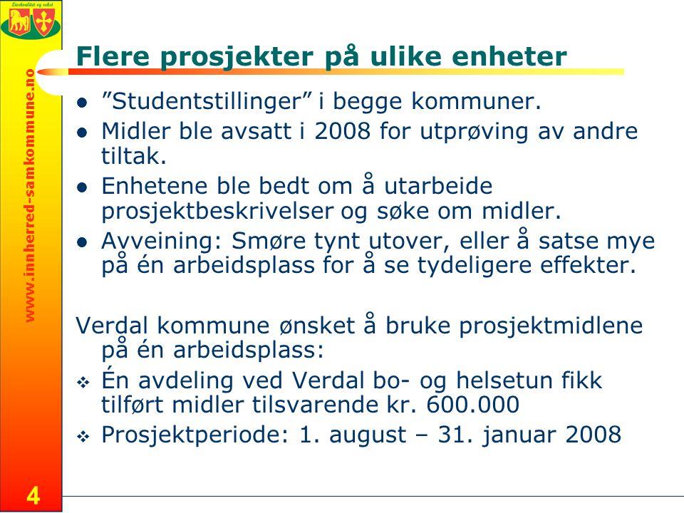 www.innherred-samkommune.no 4 Flere prosjekter på ulike enheter Studentstillinger i begge kommuner.