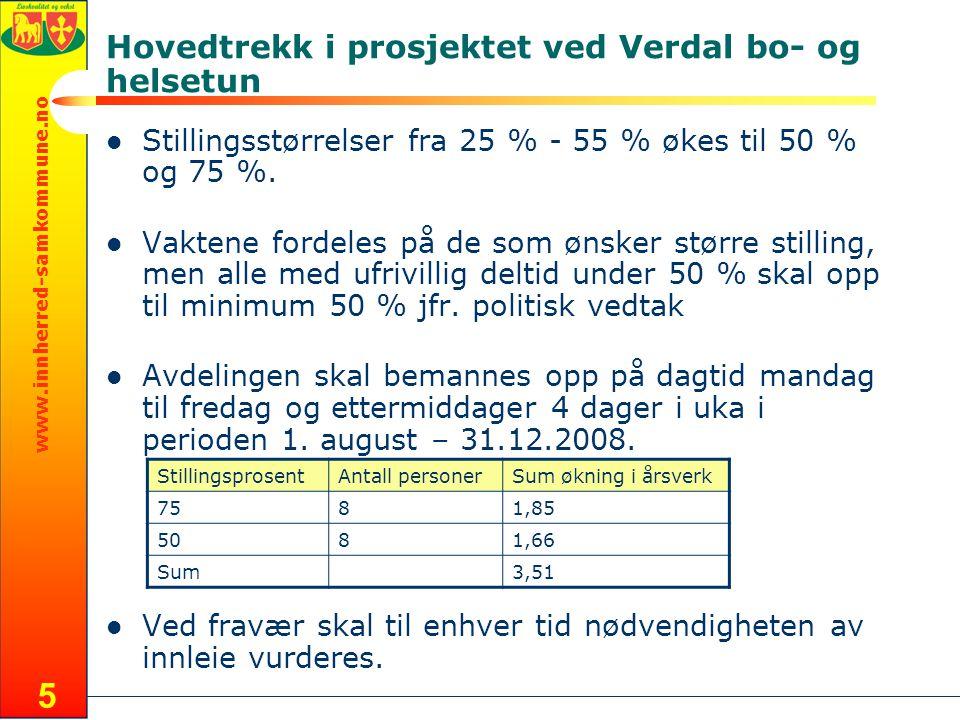 www.innherred-samkommune.no 5 Hovedtrekk i prosjektet ved Verdal bo- og helsetun Stillingsstørrelser fra 25 % - 55 % økes til 50 % og 75 %.