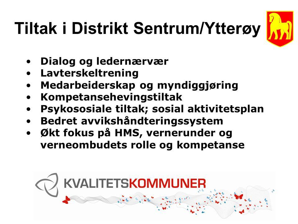 Tiltak i Distrikt Sentrum/Ytterøy Dialog og ledernærvær Lavterskeltrening Medarbeiderskap og myndiggjøring Kompetansehevingstiltak Psykososiale tiltak