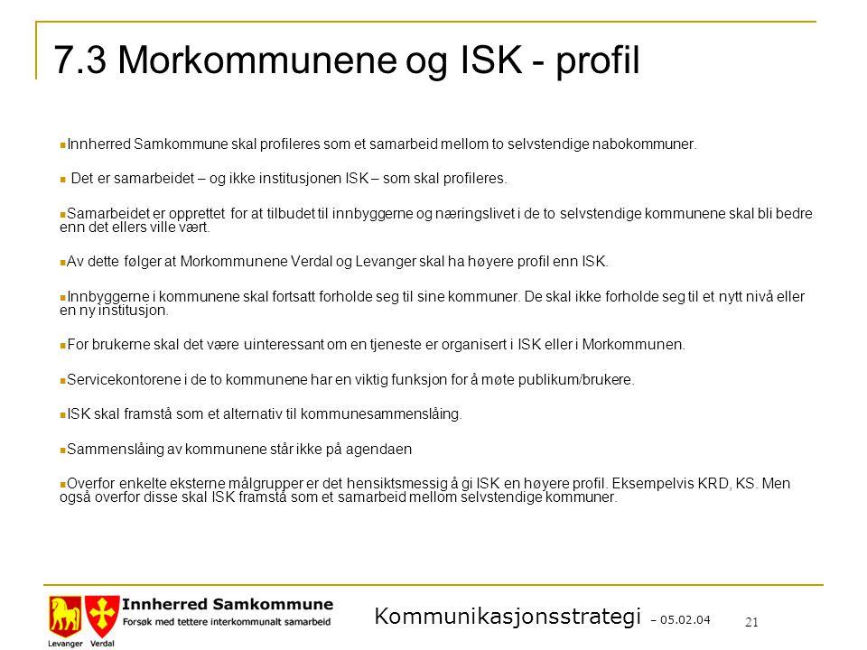 Kommunikasjonsstrategi – 05.02.04 21 7.3 Morkommunene og ISK - profil Innherred Samkommune skal profileres som et samarbeid mellom to selvstendige nabokommuner.