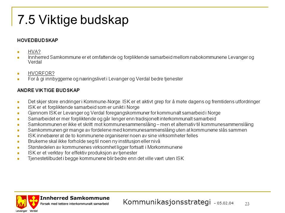 Kommunikasjonsstrategi – 05.02.04 23 7.5 Viktige budskap HOVEDBUDSKAP HVA.