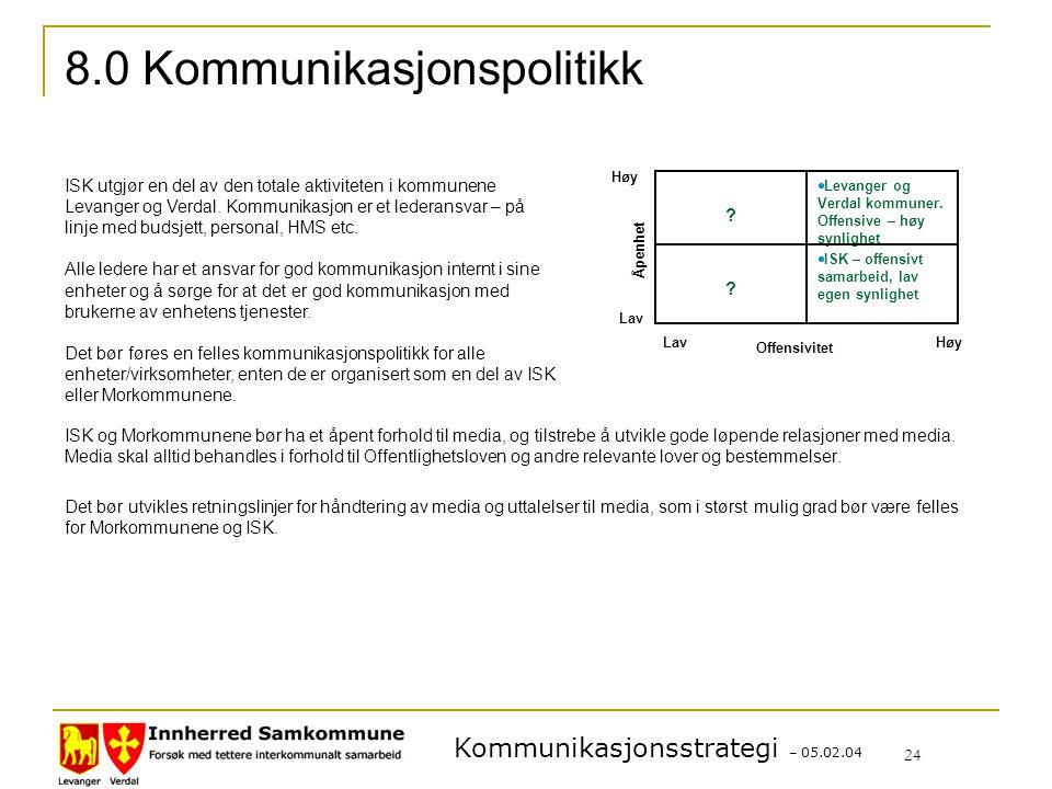 Kommunikasjonsstrategi – 05.02.04 24 ISK og Morkommunene bør ha et åpent forhold til media, og tilstrebe å utvikle gode løpende relasjoner med media.