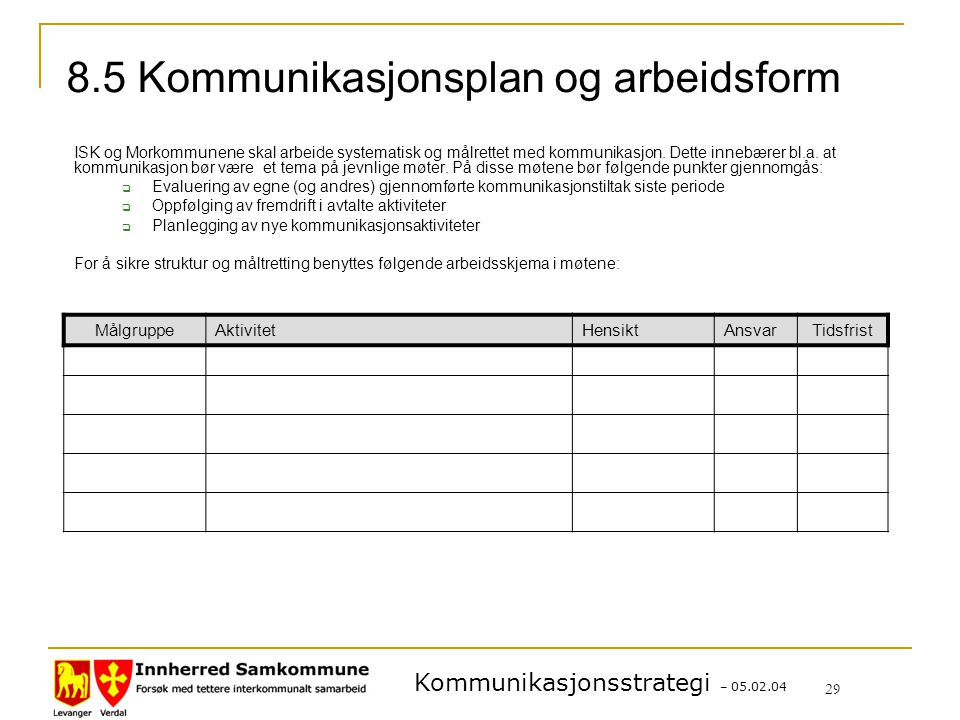 Kommunikasjonsstrategi – 05.02.04 29 8.5 Kommunikasjonsplan og arbeidsform ISK og Morkommunene skal arbeide systematisk og målrettet med kommunikasjon.
