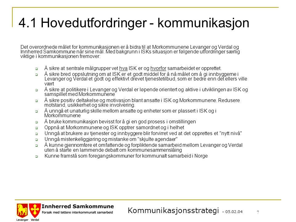 Kommunikasjonsstrategi – 05.02.04 7 4.1 Hovedutfordringer - kommunikasjon Det overordnede målet for kommunikasjonen er å bidra til at Morkommunene Levanger og Verdal og Innherred Samkommune når sine mål.