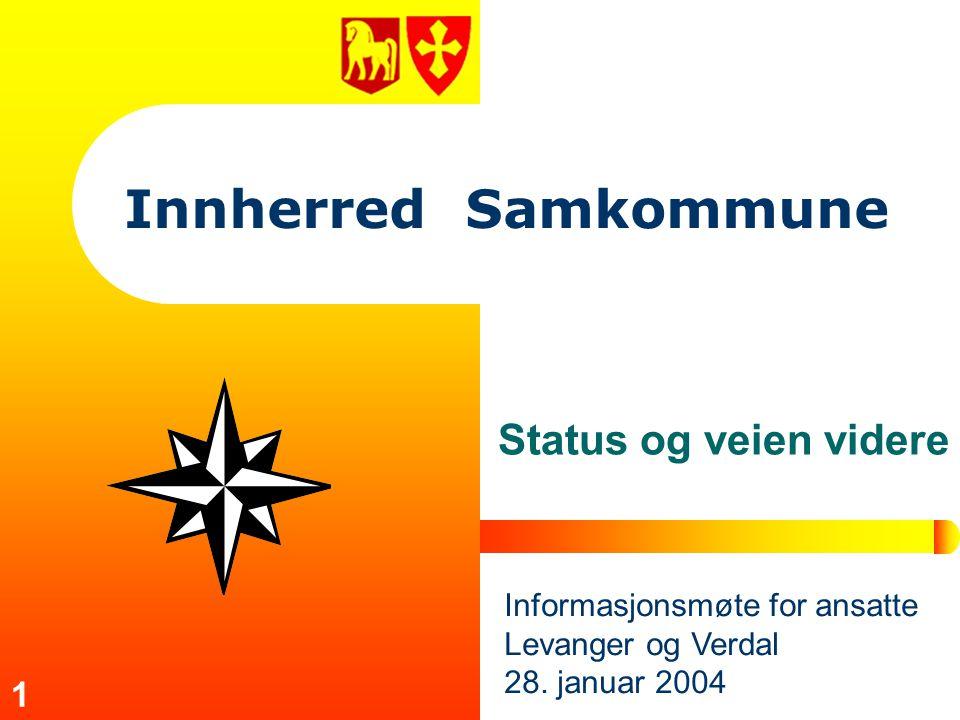 1 Innherred Samkommune Status og veien videre Informasjonsmøte for ansatte Levanger og Verdal 28. januar 2004