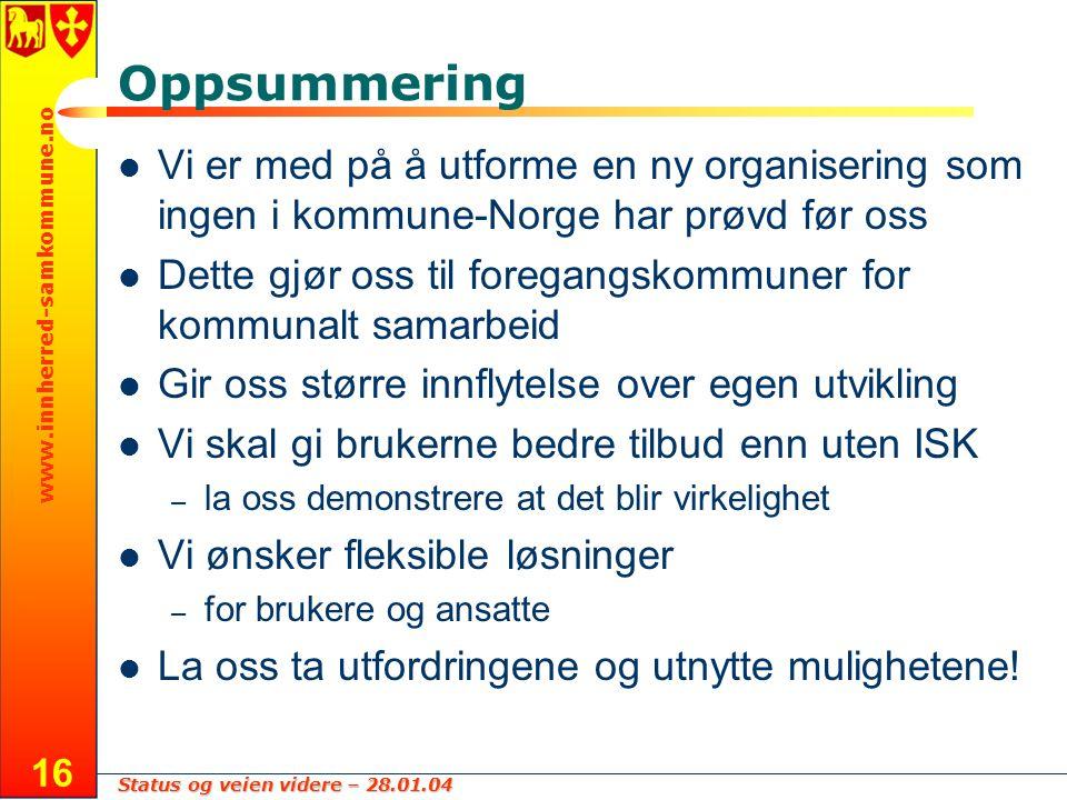 Status og veien videre – 28.01.04 www.innherred-samkommune.no 16 Oppsummering Vi er med på å utforme en ny organisering som ingen i kommune-Norge har