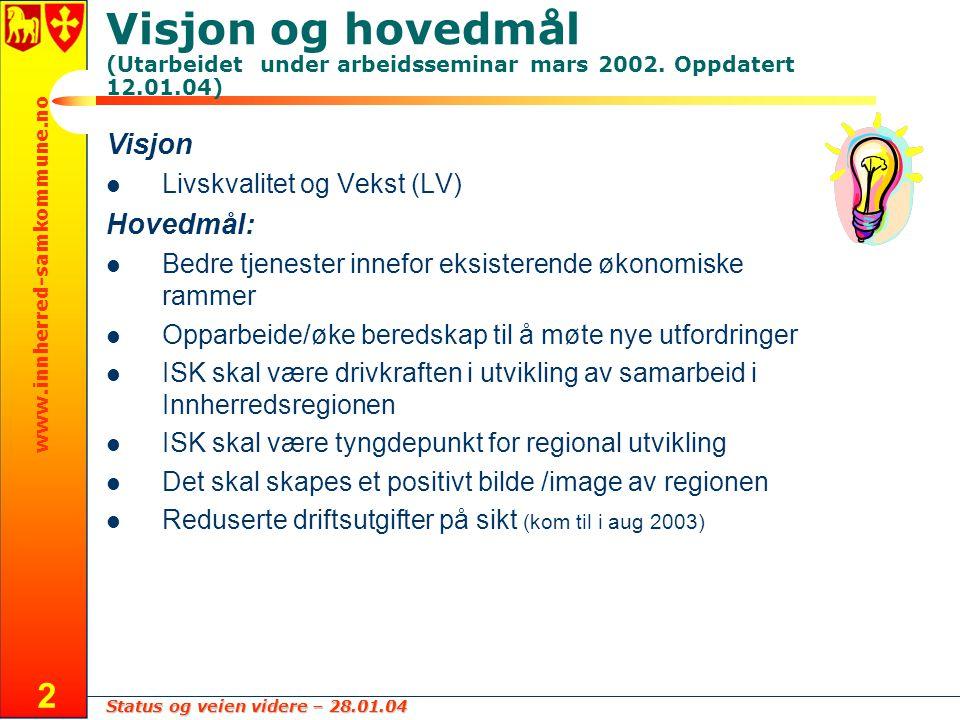 Status og veien videre – 28.01.04 www.innherred-samkommune.no 2 Visjon og hovedmål (Utarbeidet under arbeidsseminar mars 2002. Oppdatert 12.01.04) Vis