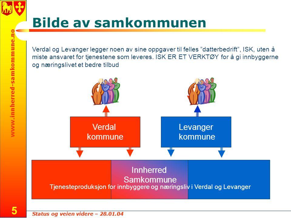 """Status og veien videre – 28.01.04 www.innherred-samkommune.no 5 Bilde av samkommunen Verdal og Levanger legger noen av sine oppgaver til felles """"datte"""