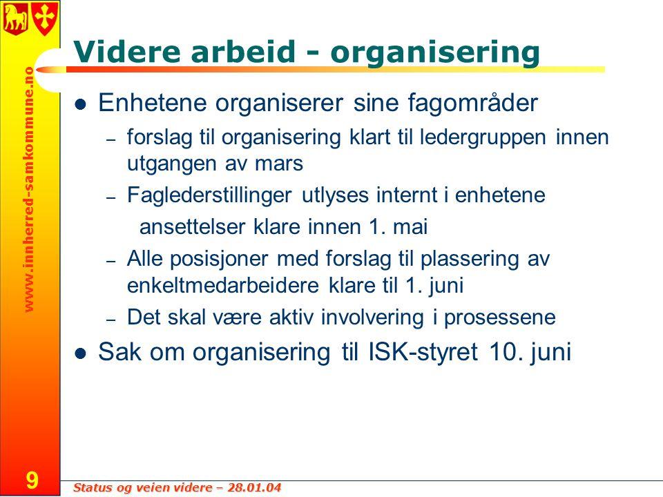 Status og veien videre – 28.01.04 www.innherred-samkommune.no 9 Videre arbeid - organisering Enhetene organiserer sine fagområder – forslag til organi