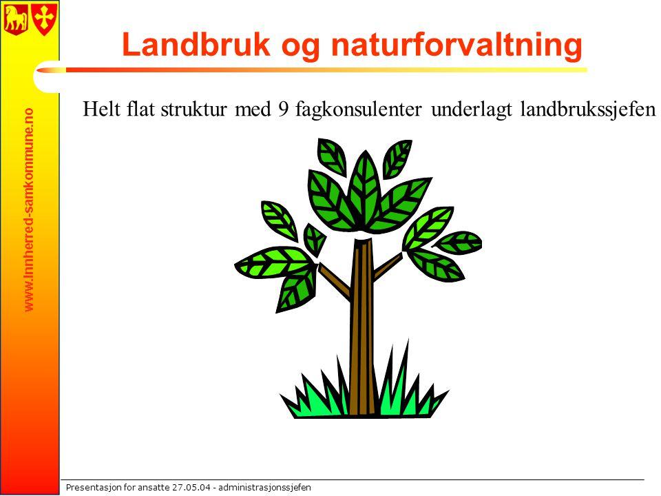 www.innherred-samkommune.no Presentasjon for ansatte 27.05.04 - administrasjonssjefen Landbruk og naturforvaltning Helt flat struktur med 9 fagkonsule