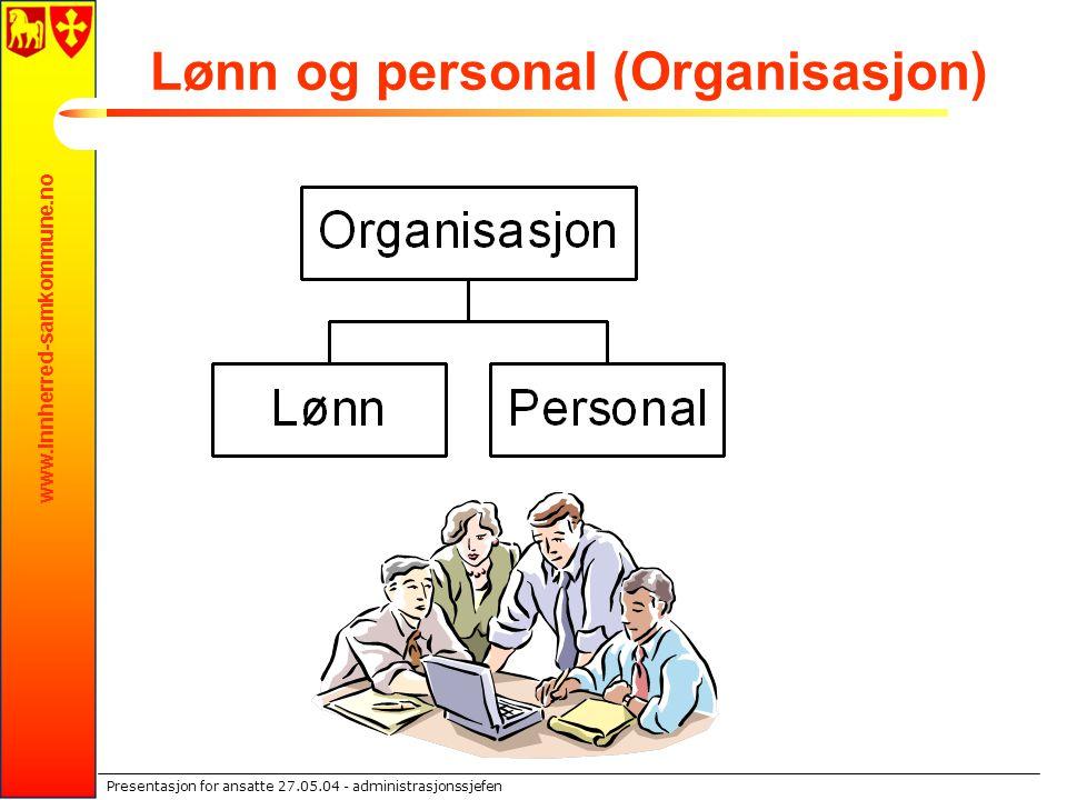 www.innherred-samkommune.no Presentasjon for ansatte 27.05.04 - administrasjonssjefen Lønn og personal (Organisasjon)