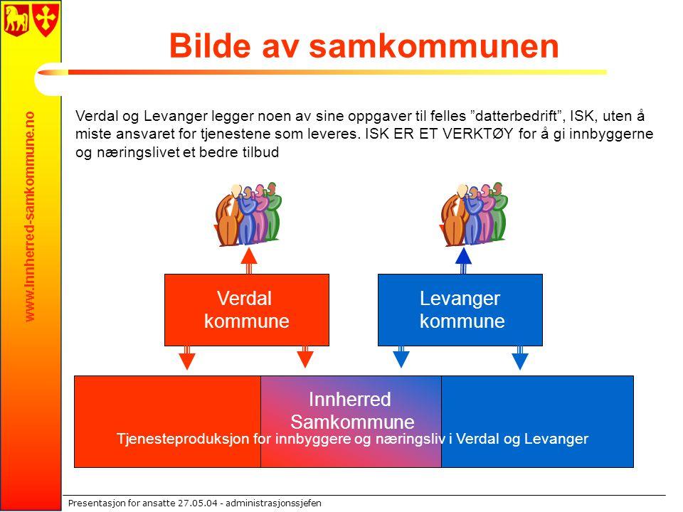 www.innherred-samkommune.no Presentasjon for ansatte 27.05.04 - administrasjonssjefen Bilde av samkommunen Verdal og Levanger legger noen av sine oppg