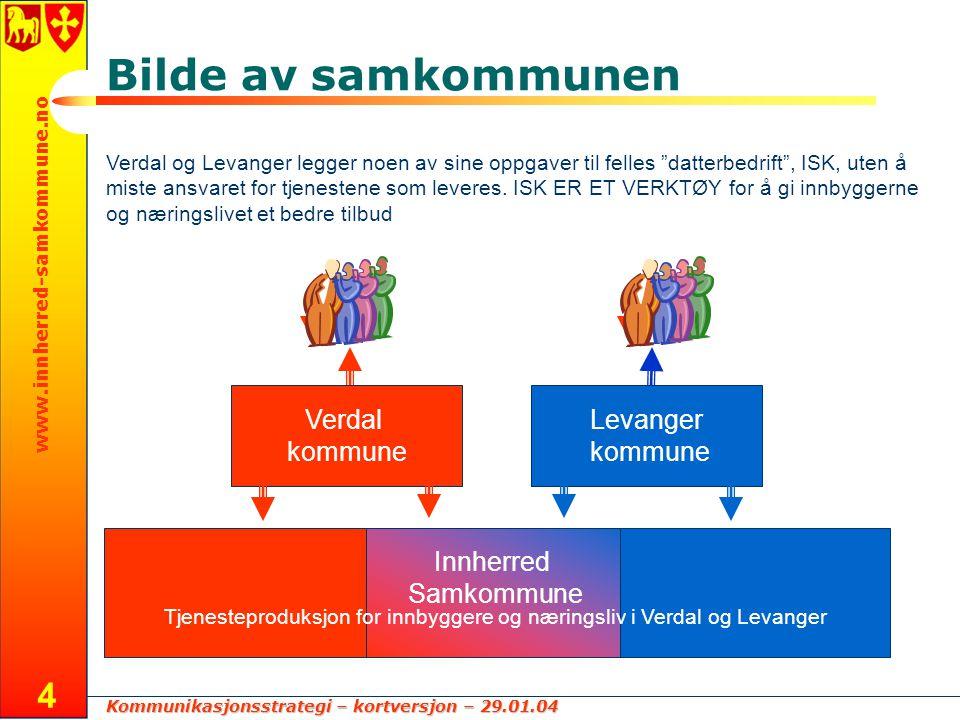 Kommunikasjonsstrategi – kortversjon – 29.01.04 www.innherred-samkommune.no 4 Bilde av samkommunen Verdal og Levanger legger noen av sine oppgaver til