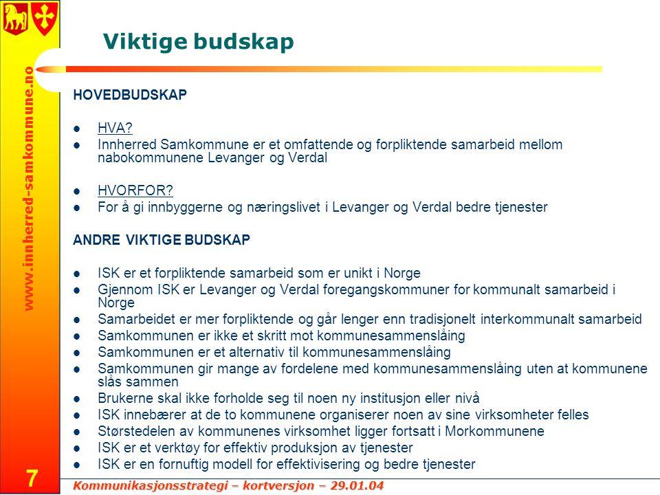 Kommunikasjonsstrategi – kortversjon – 29.01.04 www.innherred-samkommune.no 7 Viktige budskap HOVEDBUDSKAP HVA? Innherred Samkommune er et omfattende