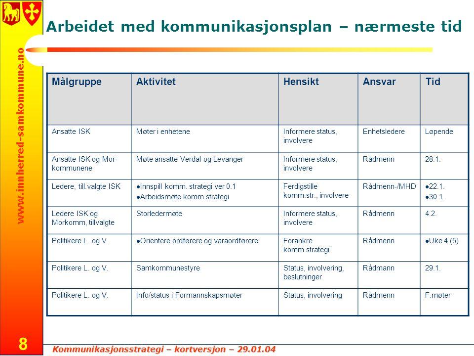 Kommunikasjonsstrategi – kortversjon – 29.01.04 www.innherred-samkommune.no 8 Arbeidet med kommunikasjonsplan – nærmeste tid MålgruppeAktivitetHensikt
