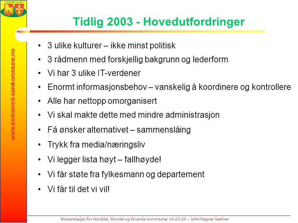 www.innherred-samkommune.no Presentasjon for Norddal, Stordal og Stranda kommuner 14.03.05 – John Ragnar Sæther Tidlig 2003 - Hovedutfordringer 3 ulik
