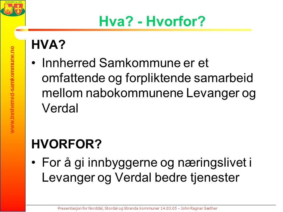 www.innherred-samkommune.no Presentasjon for Norddal, Stordal og Stranda kommuner 14.03.05 – John Ragnar Sæther Hva? - Hvorfor? HVA? Innherred Samkomm