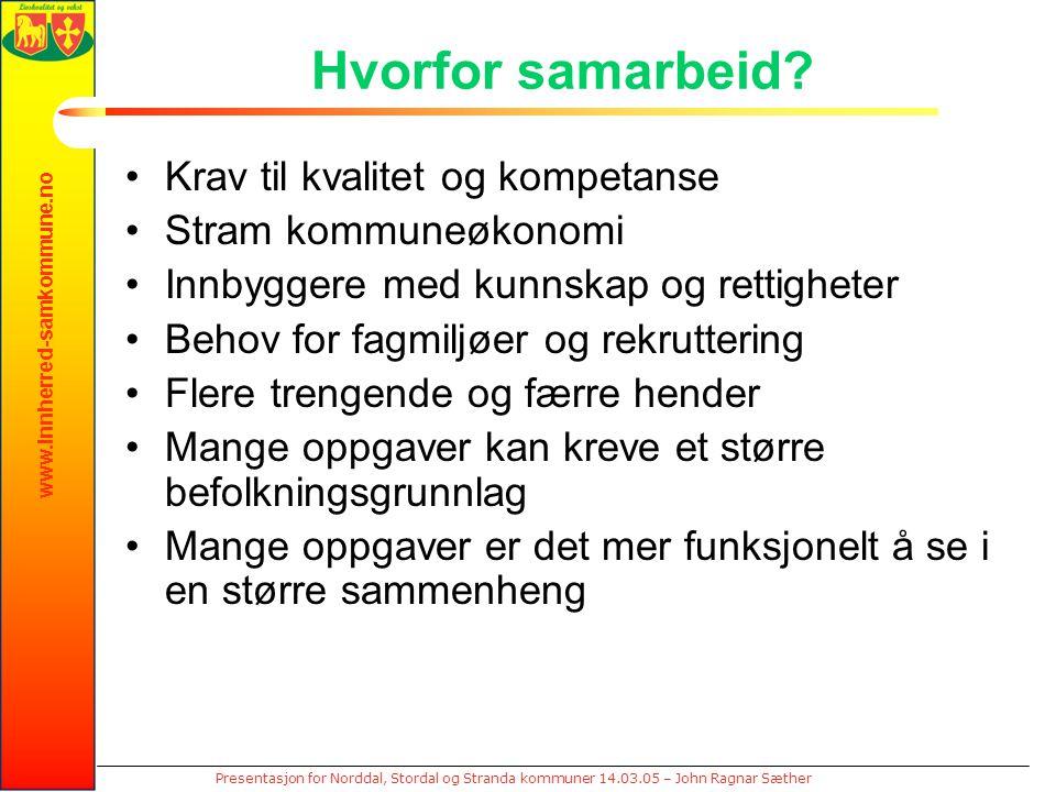 www.innherred-samkommune.no Presentasjon for Norddal, Stordal og Stranda kommuner 14.03.05 – John Ragnar Sæther Hvorfor samarbeid? Krav til kvalitet o