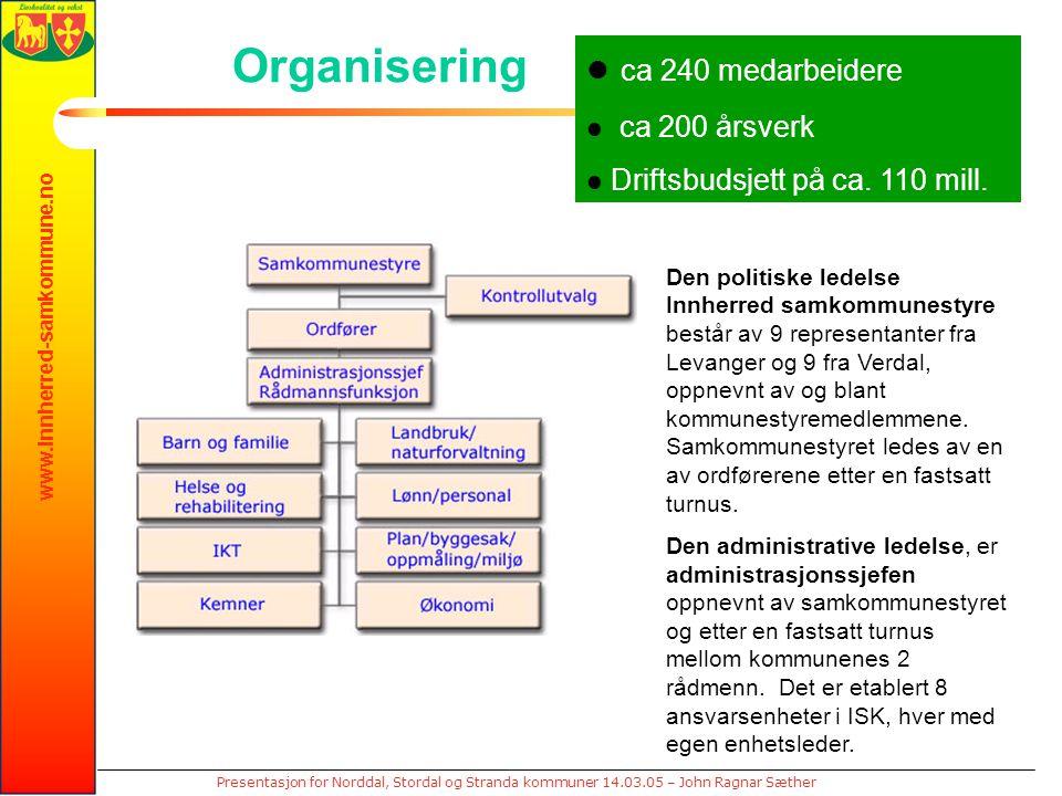 www.innherred-samkommune.no Presentasjon for Norddal, Stordal og Stranda kommuner 14.03.05 – John Ragnar Sæther Organisering Den politiske ledelse Innherred samkommunestyre består av 9 representanter fra Levanger og 9 fra Verdal, oppnevnt av og blant kommunestyremedlemmene.