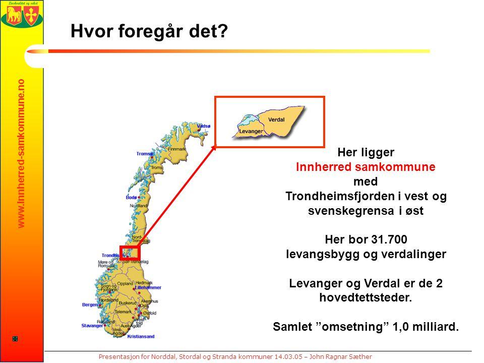 www.innherred-samkommune.no Presentasjon for Norddal, Stordal og Stranda kommuner 14.03.05 – John Ragnar Sæther Hvor foregår det? Her ligger Innherred