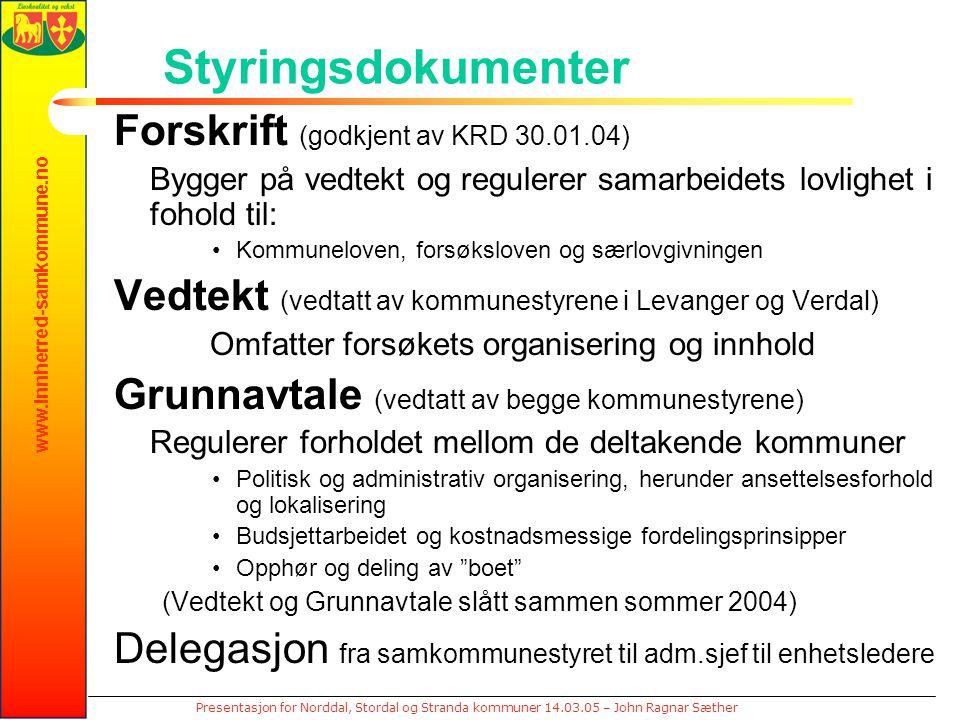 www.innherred-samkommune.no Presentasjon for Norddal, Stordal og Stranda kommuner 14.03.05 – John Ragnar Sæther Styringsdokumenter Forskrift (godkjent