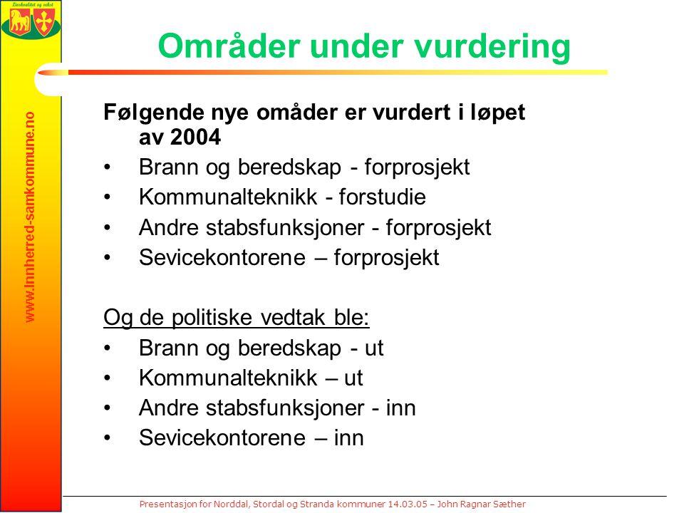 www.innherred-samkommune.no Presentasjon for Norddal, Stordal og Stranda kommuner 14.03.05 – John Ragnar Sæther Områder under vurdering Følgende nye o