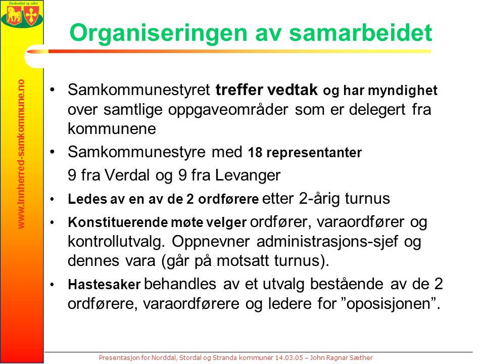 www.innherred-samkommune.no Presentasjon for Norddal, Stordal og Stranda kommuner 14.03.05 – John Ragnar Sæther Organiseringen av samarbeidet Samkommunestyret treffer vedtak og har myndighet over samtlige oppgaveområder som er delegert fra kommunene Samkommunestyre med 18 representanter 9 fra Verdal og 9 fra Levanger Ledes av en av de 2 ordførere etter 2-årig turnus Konstituerende møte velger ordfører, varaordfører og kontrollutvalg.