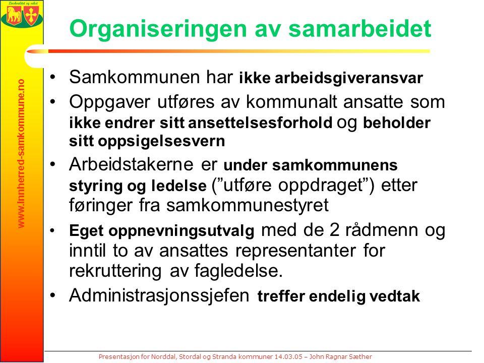 www.innherred-samkommune.no Presentasjon for Norddal, Stordal og Stranda kommuner 14.03.05 – John Ragnar Sæther Organiseringen av samarbeidet Samkommu
